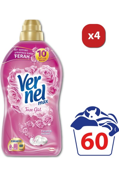 Vernel Max Çamaşır Yumuşatıcısı Taze Gül 60 Yıkama 1440 ml x 4 Adet