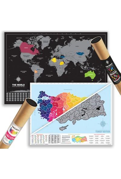 Scratch Map Kazınabilir Scratch Map Dünya + Türkiye 2'Li Harita Seti Büyük Boy