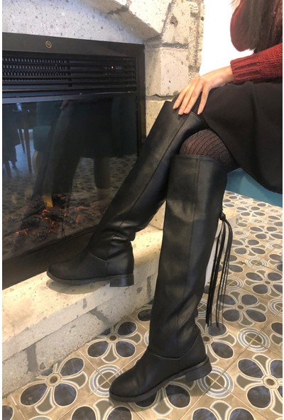 Pembe Potin Siyah Kadın Çizme