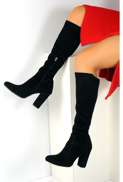 Pembe Potin Siyah Nubuk Kadın Çizme