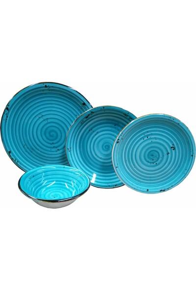 Emsan Pera 24 Parça Mavi Porselen Yemek Takımı