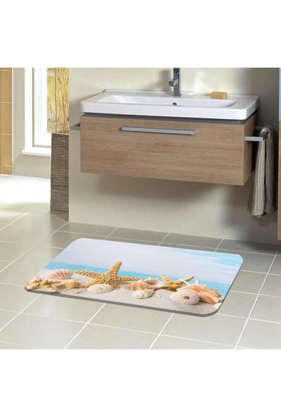 Canel Deniz Yıldızı Sahil 3D Modern Dekoratif Klozet Banyo Paspası