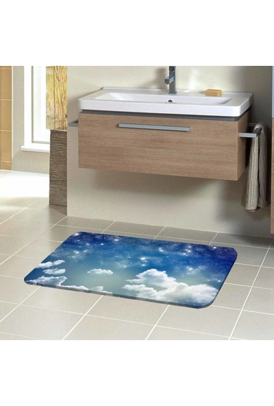 Canel Mavi Bulutlar 3D Modern Dekoratif Klozet Banyo Paspası