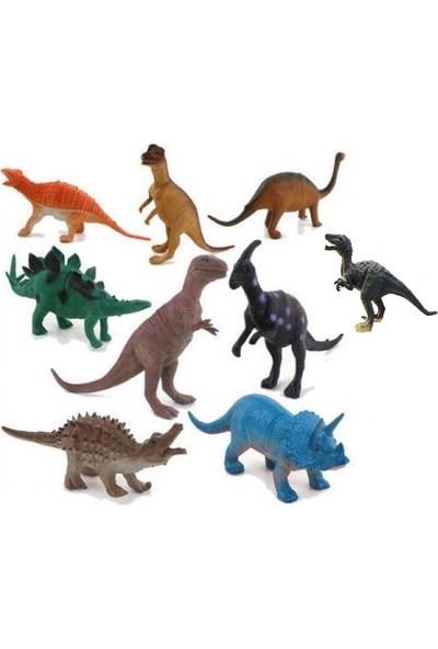 Yeşil Oyuncak Hayvanlar 9 Parça Dinozor Seti Büyük Boy 15 cm Dinazorlar
