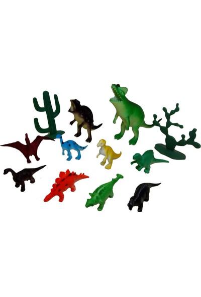 Yeşil Oyuncak 12 Parça Oyuncak Hayvan Seti Dinozorlar - Dinazor Figürleri