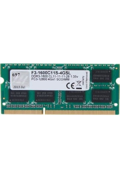 GSKILL Value DDR3L-1600Mhz 1.35V Low Voltaj CL11 4GB SO-DIMM (F3-1600C11S-4GSL)