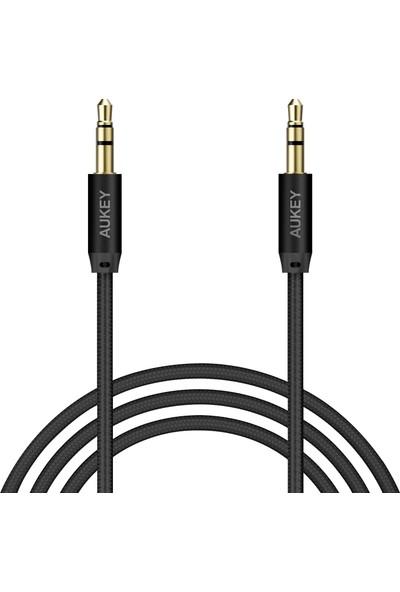 Aukey CB-V12 Gri Nylon Örgülü 3.5mm Aux Ses Kablosu (1.2mt) - Siyah