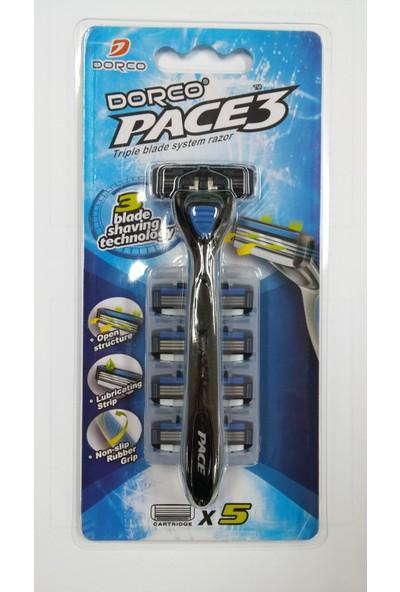 Dorco Pace 3 Tıraş Makinesi + 5 Adet Yedek Başlık Set