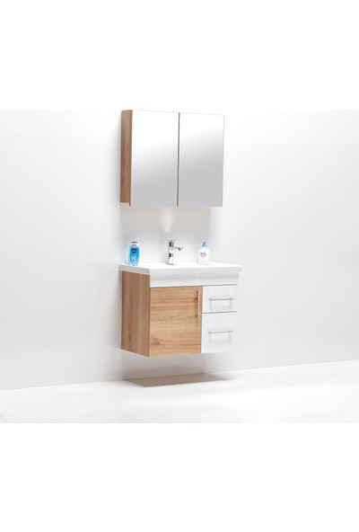 Hepsi Home Saydam Primera 80 Cm Mdf Banyo Dolabı Meşe Beyaz