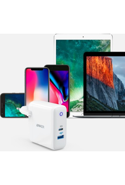 Anker PowerPort II Power Delivery USB ve USB-C 49.5W MacBook-iPad-Samsung Galaxy Serisi ve PowerIQ 2.0 iPhone XS-XR-X-8-8 Plus için Hızlı Şarj Aleti – A2321L21 - OFP