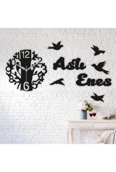 Morvizyon Kuş ve Ağaç Tasarımlı Kişiye Özel Ahşap Duvar Saati - L150