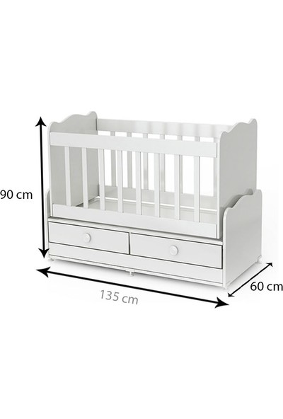 Exor Baby MN - 270 Prime 2 Çekmeceli Ahşap Bebek Beşiği