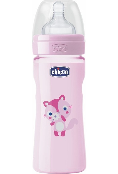Chicco Wellbeing PP Renkli Biberon Kız 250 ml Silikon Akış Ayarlı
