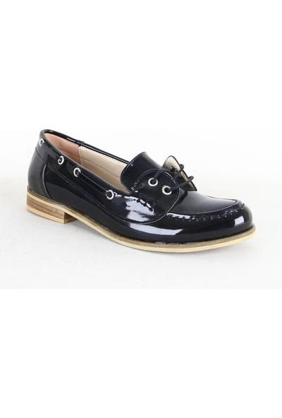 Armoni 347 Rugan Bayan Babet Ayakkabı Siyah