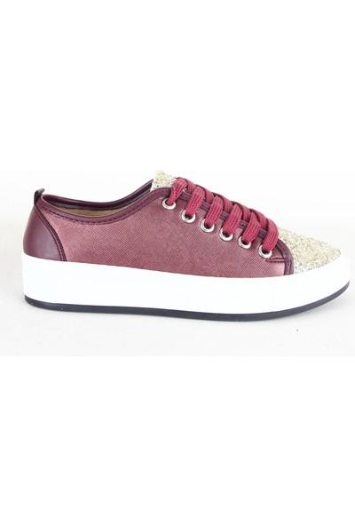 Badis 111 Bayan Simli Günlük Ayakkabı Bordo