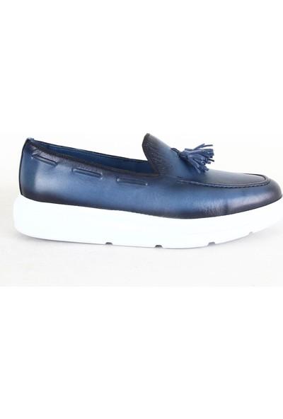 Rego 1231 Erkek Casual Deri Ayakkabı Mavi