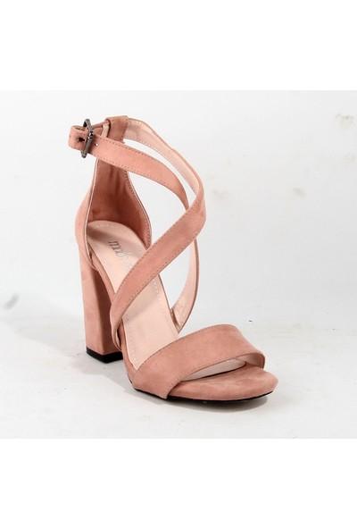 Mode Dame 105 Bayan Topuklu Ayakkabı Pudra