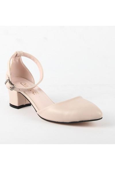Nida 326 Bayan Topuklu Ayakkabı Krem