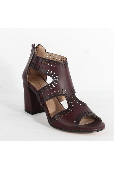 Yeni Sezon 100 Bayan Topuklu Ayakkabı Bordo