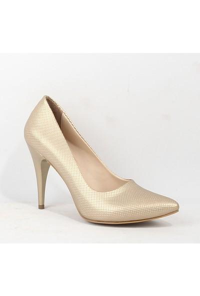 Estii 063 Bayan Topuklu Gold Ayakkabı Gold