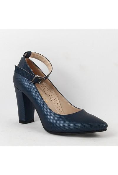 Faris 061 Bayan Topuklu Ayakkabı Lacivert