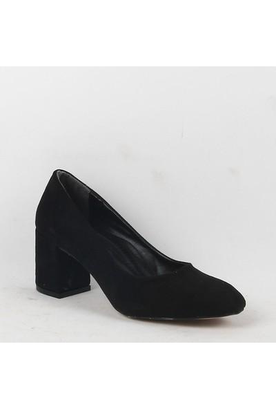 Jeny 060 Bayan Topuklu Süet Ayakkabı Siyah