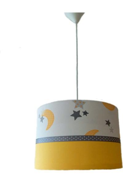 Ora Dekor Çocuk Odası Avize Gri Sarı Ay Yıldız Desenli