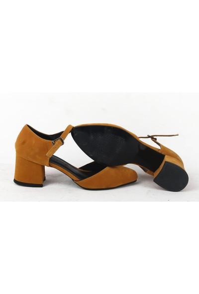 Chica Secret 050 Bayan Topuklu Süet Ayakkabı Hardal