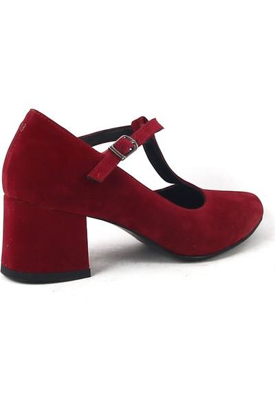 Chica Secreto 053 Bayan Topuklu Süet Ayakkabı Kırmızı