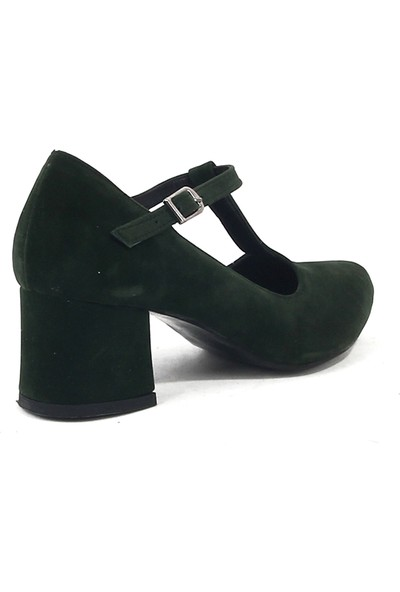 Chica Secreto 053 Bayan Topuklu Süet Ayakkabı Yeşil