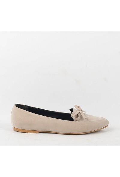 Chica Secreto 054 Bayan Süet Babet Ayakkabı Krem