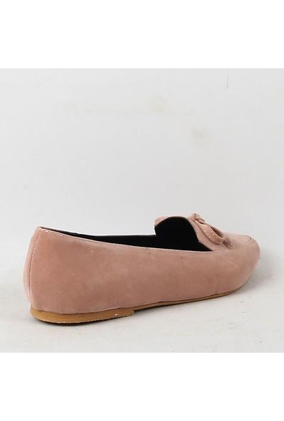 Chica Secreto 054 Bayan Süet Babet Ayakkabı Pudra
