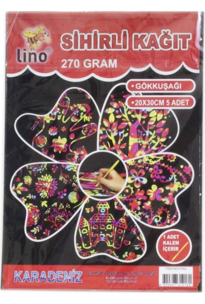 Lino Sihirli Kağıt 5'Li 270 Gr.20X30Cm (Kalem Hediyeli)