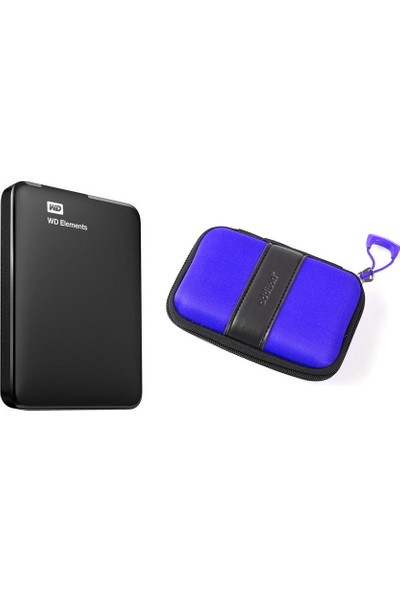 """WD Elements 2.5"""" 1TB USB 3.0 Taşınabilir Disk (WDBUZG0010BBK-WESN) + Addison HDD-136 Mavi Kılıf"""