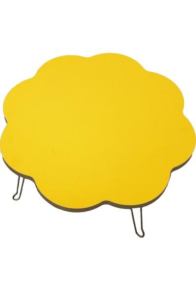 Veronya Koyu Sarı Renkli Katlanır Ayaklı Yer Sofrası 70 cm