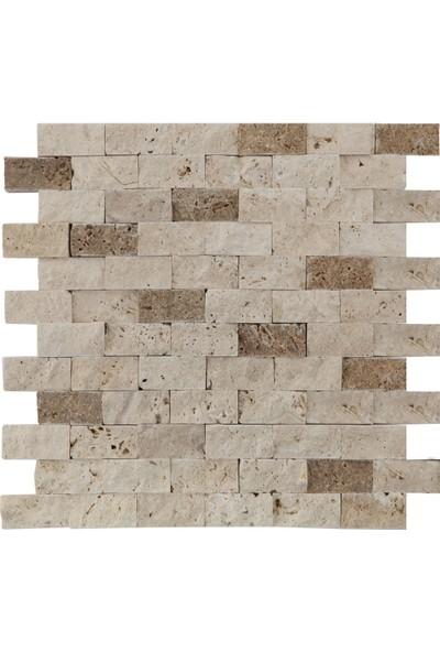 Markataş 2,5X5Cm Klasik & Noce Doğal Taş Traverten Patlatma Mozaik