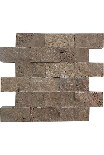 Markataş 5X10Cm Kahverengi Doğal Taş Traverten Patlatma Taş Mozaik