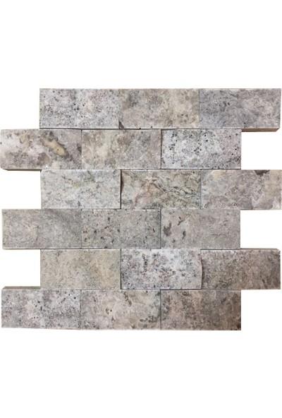 Markataş 5X10Cm Gümüş Doğal Taş Traverten Patlatma Mozaik Duvar Kaplama