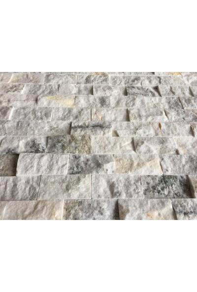 Markataş 5X10Cm White Mix Doğal Taş Mermer Patlatma Mozaik Duvar Kaplaması