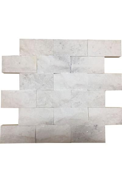 Markataş 5X10Cm White Mermer Doğal Taş Patlatma Taş Mozaik Duvar Kaplaması