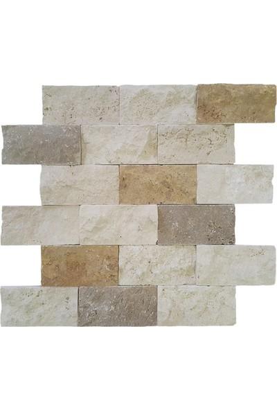 Markataş 5X10Cm Mix Doğal Taş Traverten Patlatma Mozaik Duvar Kaplaması