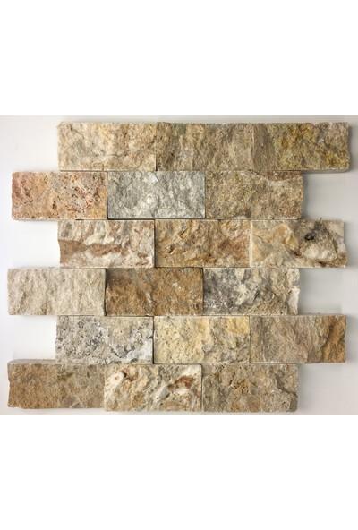 Markataş 5X10Cm Scabos Doğal Taş Patlatma Mozaik Duvar Kaplaması