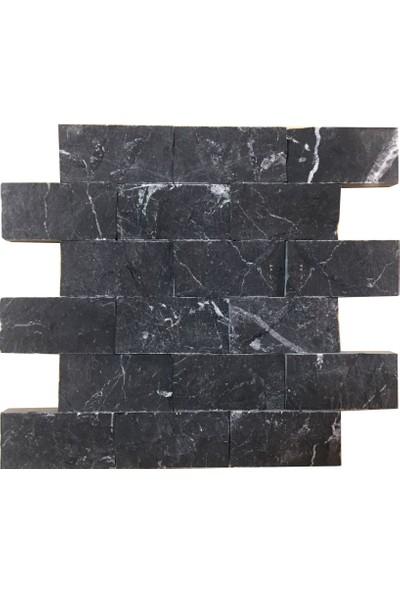 Markataş 5X10Cm Siyah Mermer Doğal Taş Patlatma Taş Duvar Kaplaması