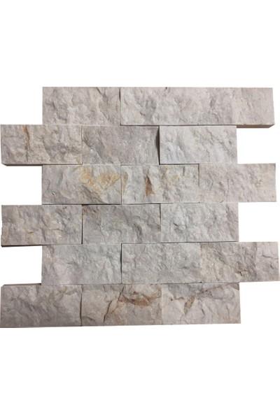 Markataş 5X10Cm Bej Mermer Doğal Taş Patlatma Taş Mozaik Duvar Kaplaması