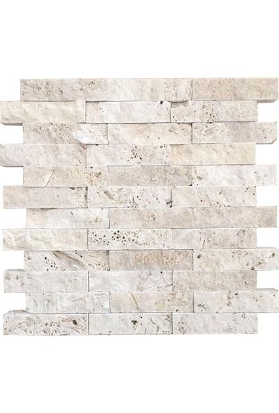 Markataş 2,5X10Cm Klasik Doğal Taş Traverten Patlatma Taş Mozaik Duvar Kaplaması