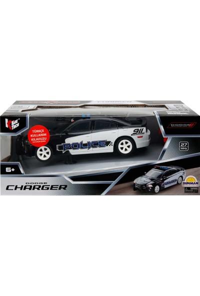 Kidztech Işıklı Dodge Charger Polis Arabası B/O R/C 1/26 F/F