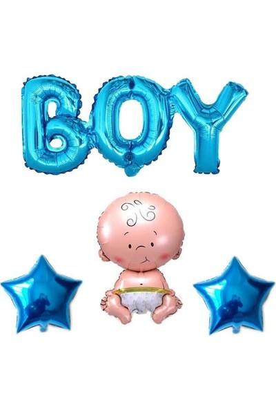 Partifabrik Boy Hastane Odası Süsleme Mavi Folyo Balon 4'lü Se