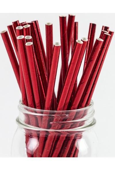 Partifabrik Kırmızı Renk Metalik Kağıt Pipet