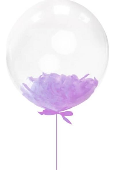 Partifabrik 24 inch'lila Tüylü Şeffaf Balon