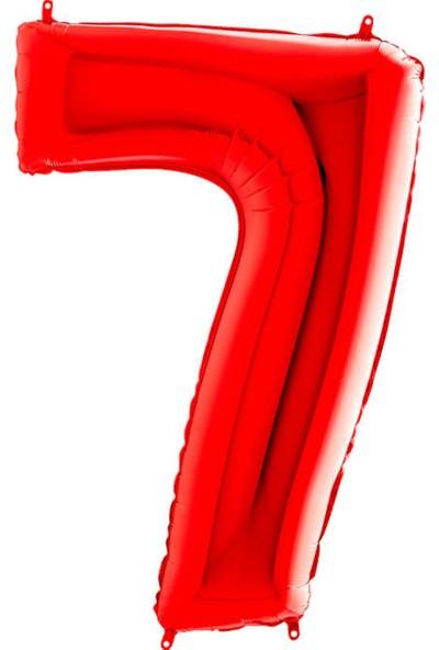 Partifabrik Kırmızı Rakam Folyo Balon 7 100 cm